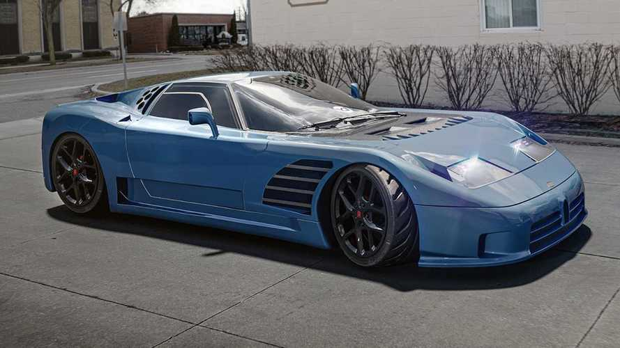 Bugatti EB110 wild rendering moves the engine in the front
