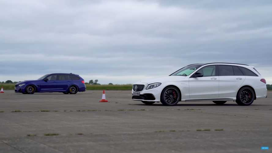Unofficial BMW M3 estate meets Mercedes-AMG C63 S in drag race