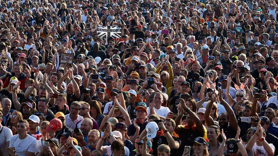 Fans celebrate victory for Lewis Hamilton, Mercedes AMG F1
