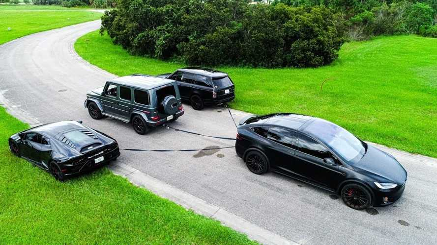 Ultimate Tug Of War Challenge: Mercedes G63 Vs Tesla, Lamborghini, Range Rover
