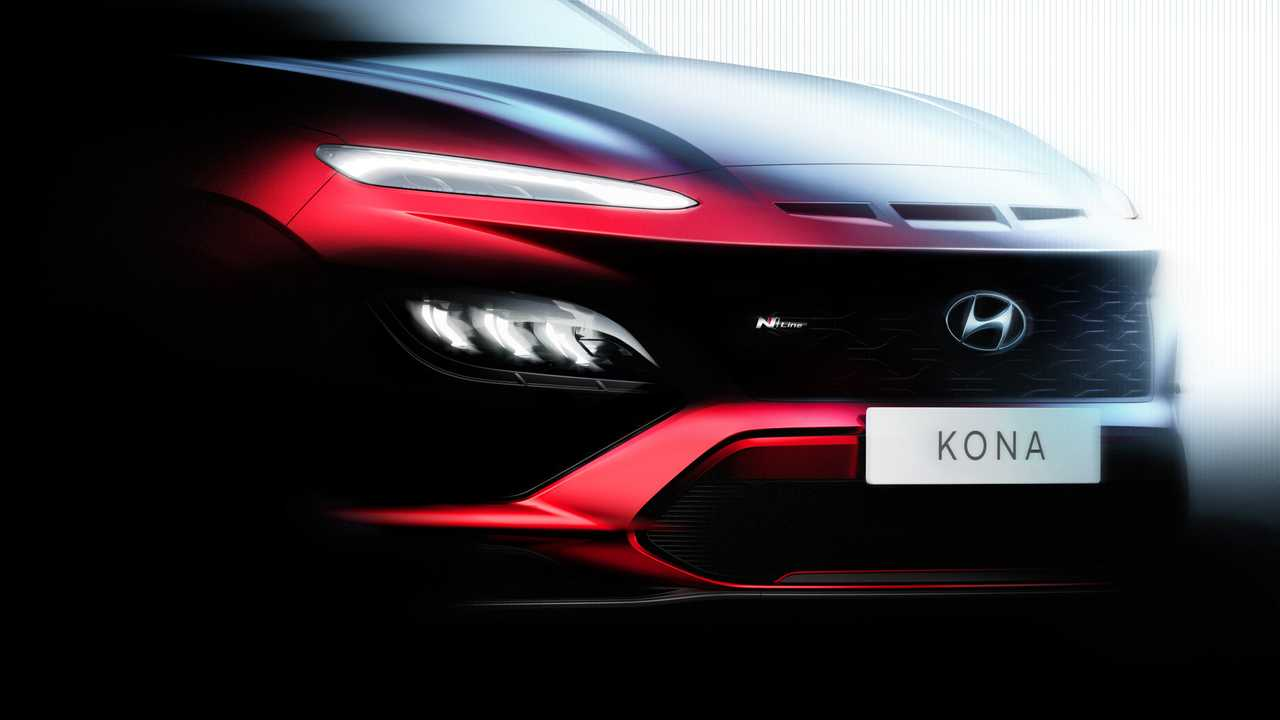 Hyundai Kona N Line: schizzo frontale con logo N-Line sulla griglia