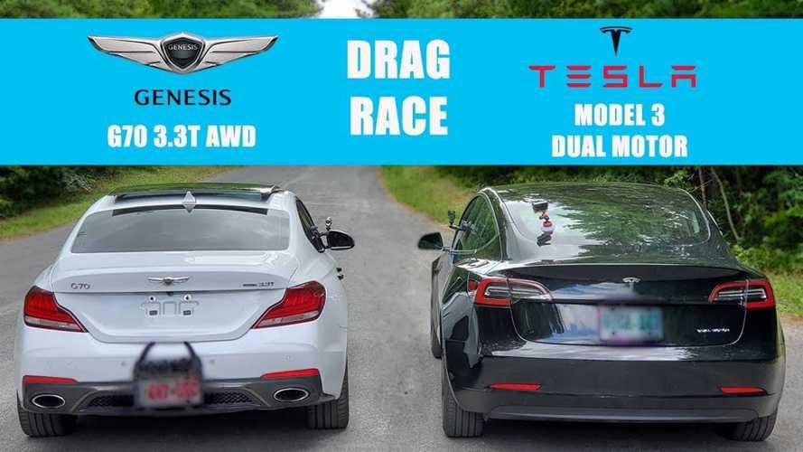Tesla Model 3 Long Range AWD Vs Genesis G70 3.3T AWD Face Off
