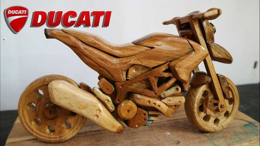 Watch A Ducati Hypermotard Come To Life ... Carved Out Of Wood