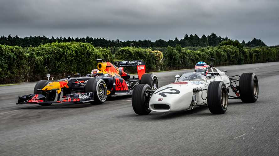 Max Verstappen drives Honda RA272 with Takuma Sato