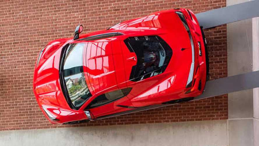 2020 Chevrolet Corvette C8 On Little Caesars' Arena Wall | Motor1.com Photos