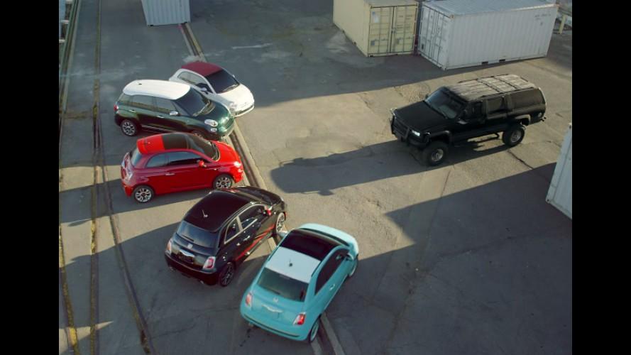 Fiat 500 foge de SUV mal encarado e chama família para se vingar - vídeo