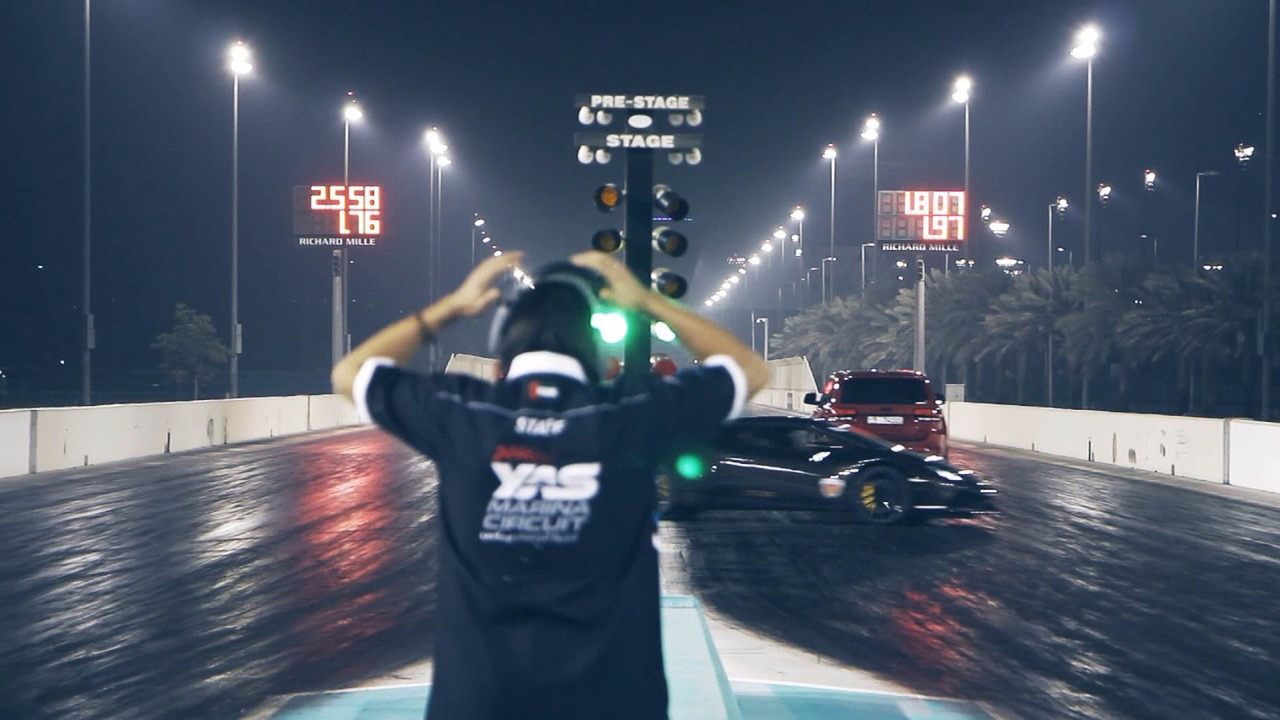 Lambo Huracan drag race crash