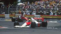 Ayrton Senna, McLaren MP4-5B Honda with Nigel Mansell, Ferrari 641 behind
