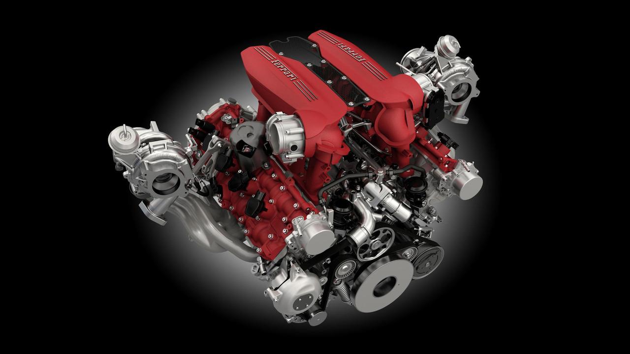 Ferrari 488 GTB çift turbolu V8 motoru