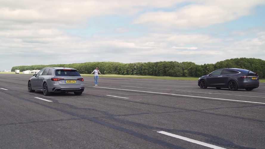 Tesla Model X P100D ile Audi RS4'ün drag yarışını izleyin