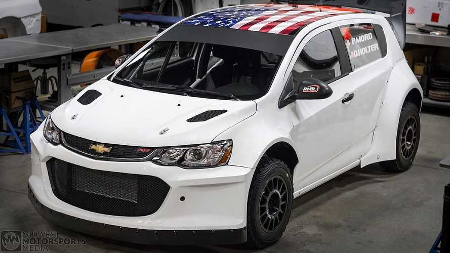 tiny chevy sonic is now a mad v8 rally car. Black Bedroom Furniture Sets. Home Design Ideas