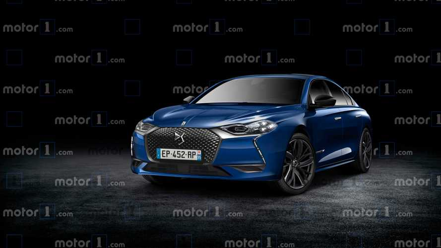 DS 8 rendered as stylish saloon of the French future