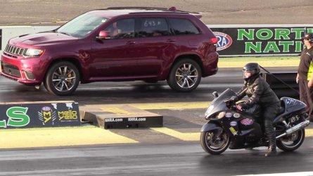 Jeep Trackhawk Drag Races Suzuki Hayabusa To An Odd Result