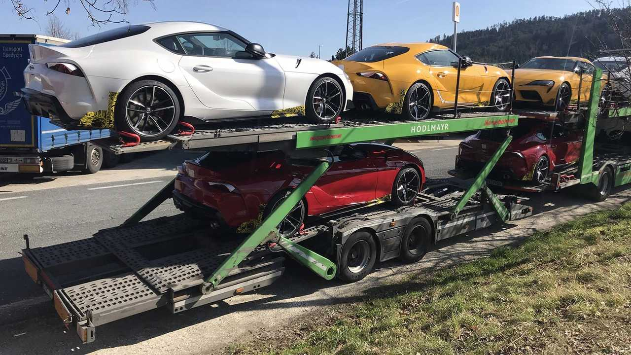 Toyota Supras On Car Carrier