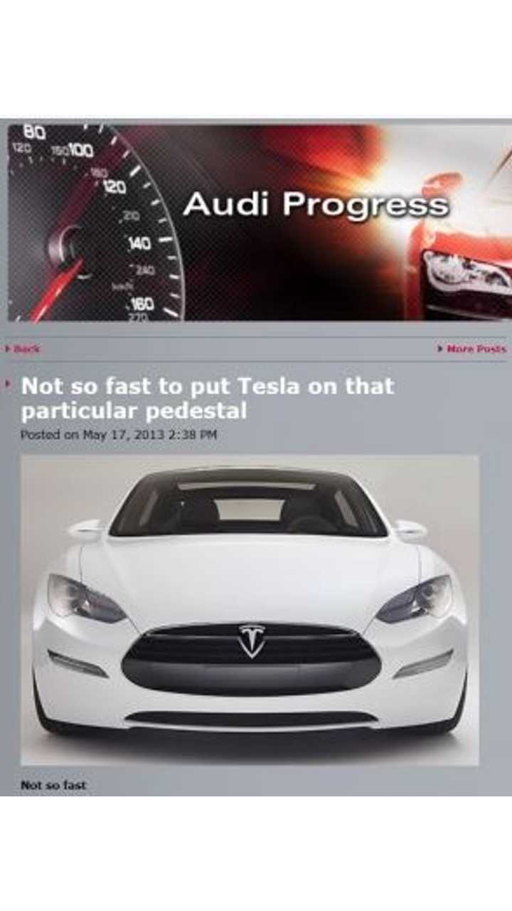 That's the Headline of Audi's Tesla Bashing Press Release Put Out in May of This Year