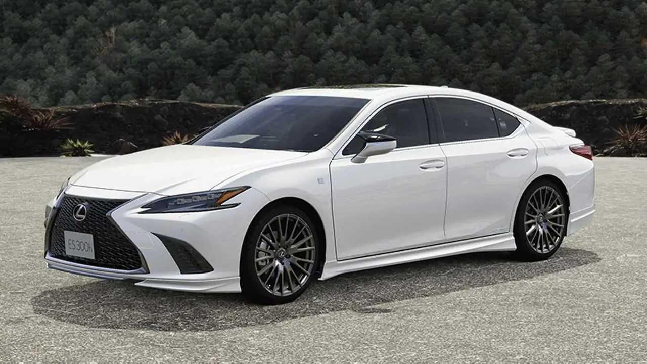 Image of a 2022 Lexus ES sedan with TRD body upgrades.
