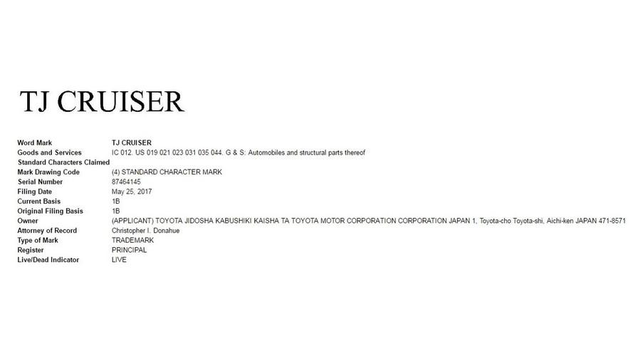 Toyota TJ Cruiser patent başvurusu