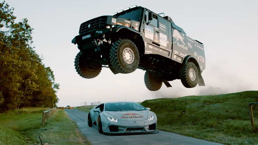 Watch a Kamaz truck jump a Lamborghini Huracan in race to Goodwood