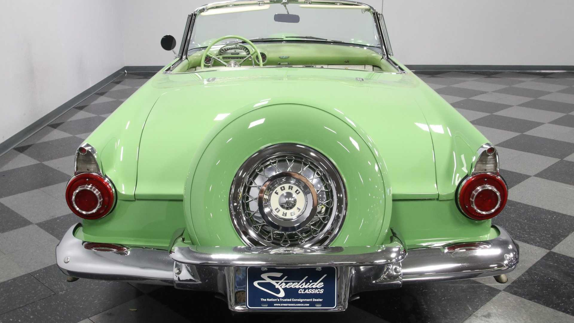 """[""""1956 Ford Thunderbird Looks Striking In Rare Sage Green Paint""""]"""