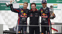 Sebastian Vettel with Christian Horner and Mark Webber 24.11.2013 Brazilian Grand Prix
