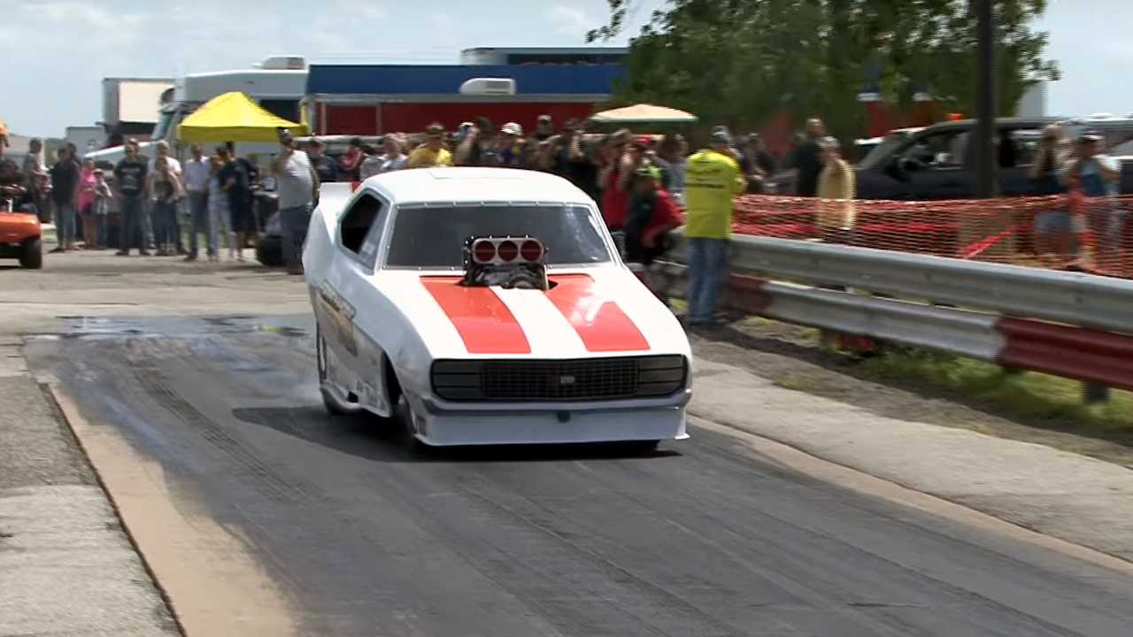 Failed Burnout Results In Impaled Camaro Funny Car