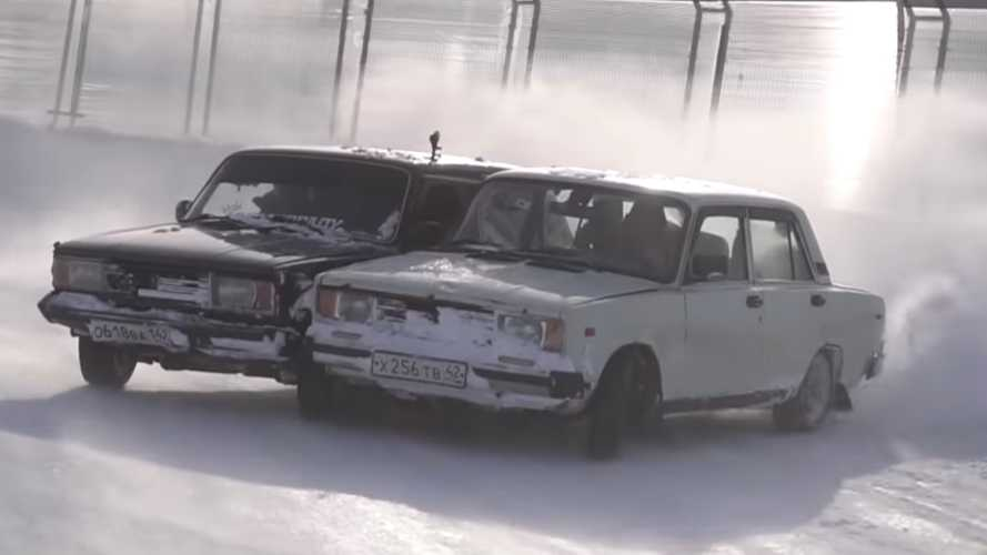 Two Cars Welded Together Drifting