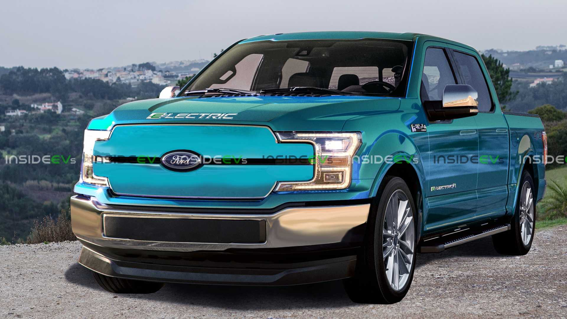 Ford F-150 Electric Truck Rendered: Mach-E Style Grille, Aero Mods