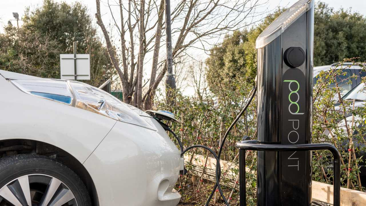 Nissan Leaf being recharged at Pod Point in Chester UK
