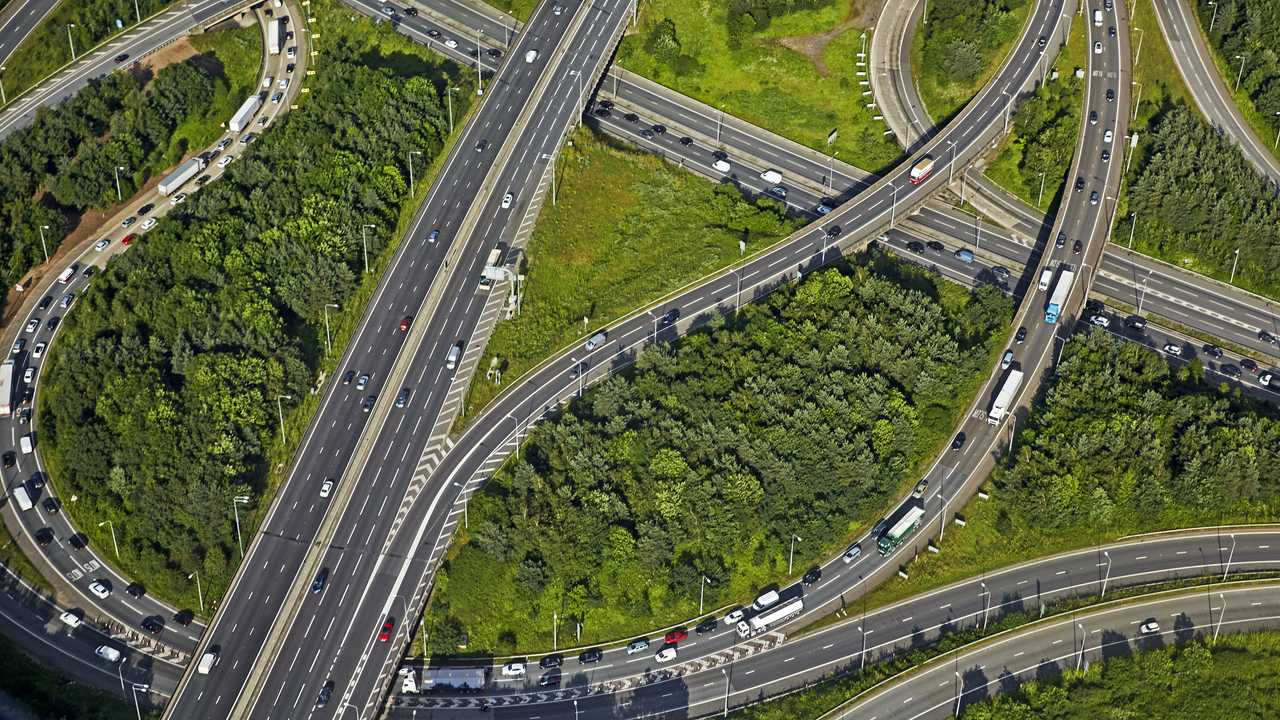 Aerial view M11 and M25 London orbital interchange