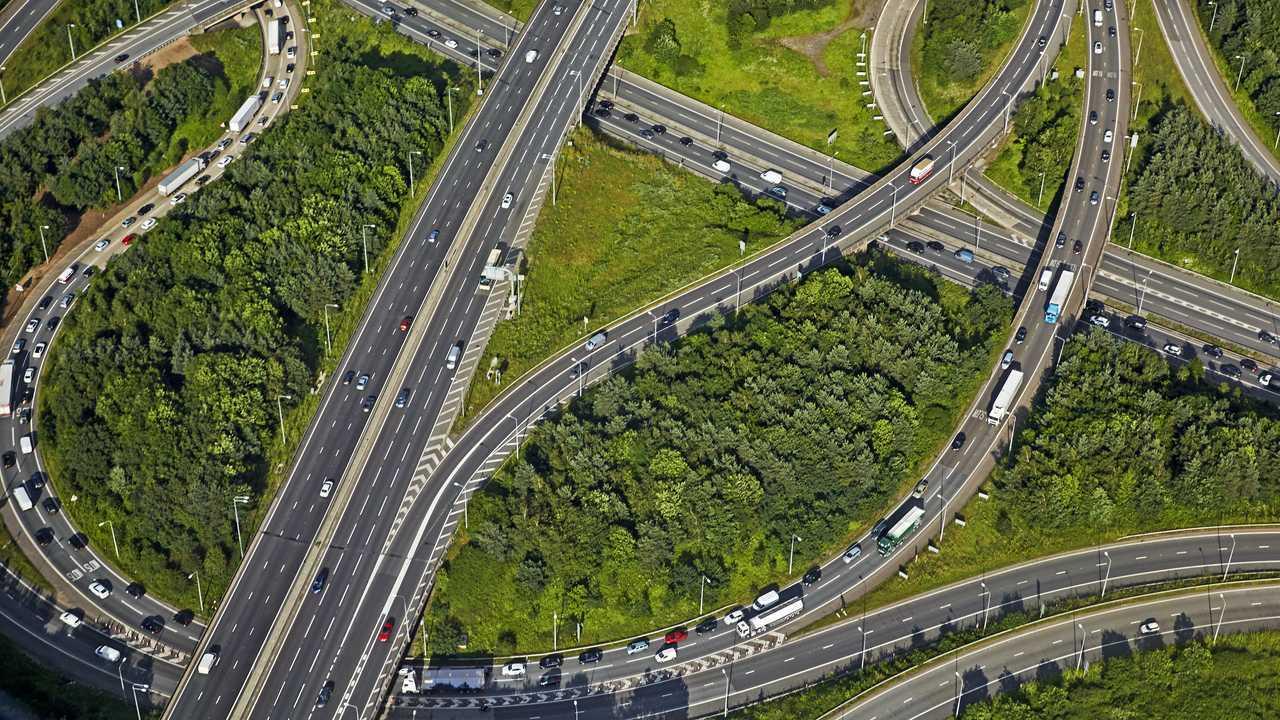 Aerial view M11 and M25 London orbital interchange