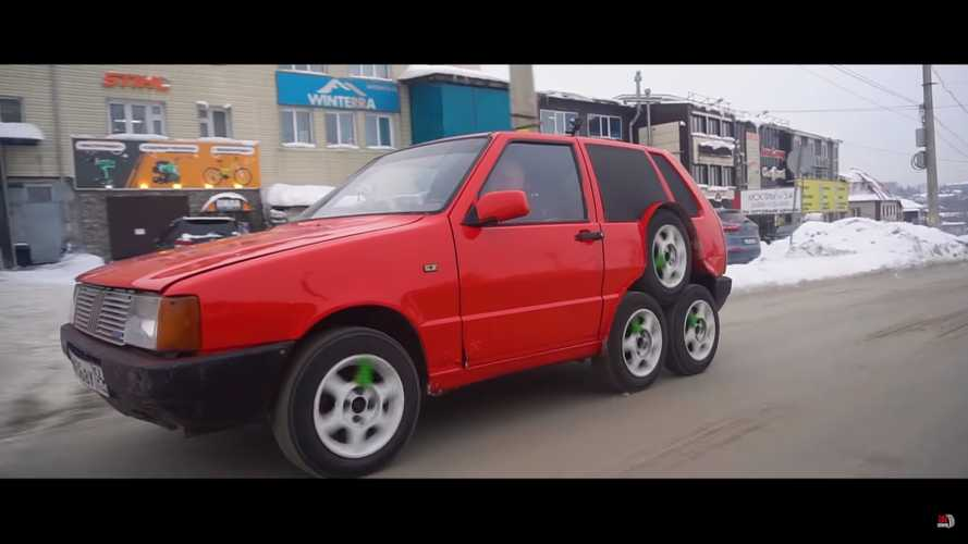 Fiat Uno gets crazy eight-wheel conversion because more is better
