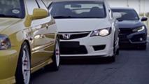 Las cinco generaciones del Honda Civic Type R, enfrentadas en circuito