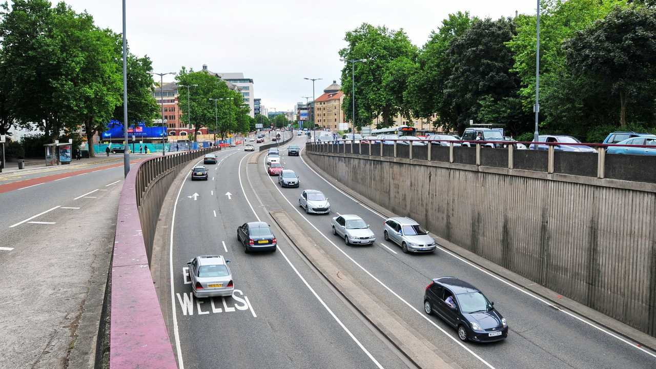 Dual carriageway traffic in Bristol UK