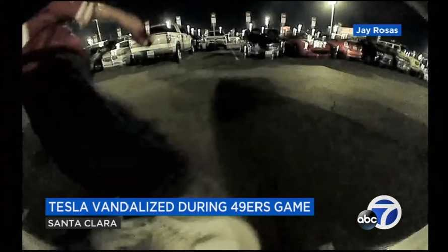 Sentry Mode Shoots Vandal Kicking Tesla Model X At Football Game
