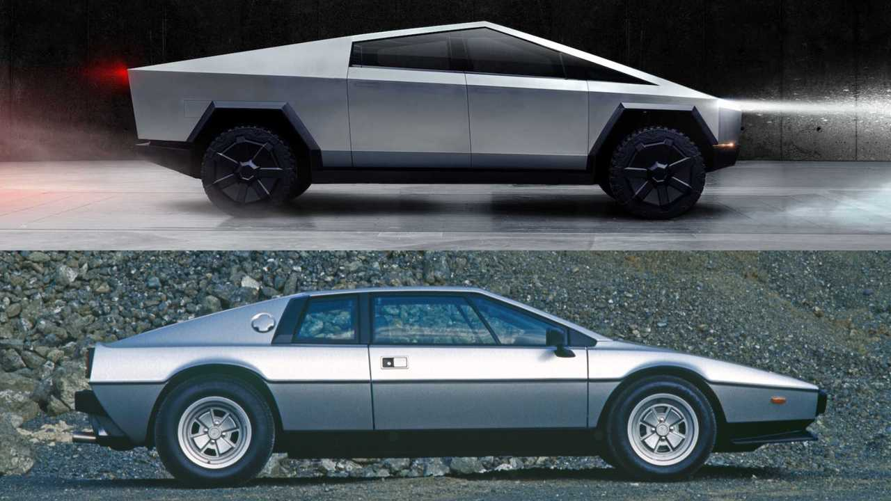 Lotus Esprit and Tesla Cybertruck