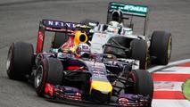 Daniel Ricciardo (AUS) leads Lewis Hamilton (GBR), 20.07.2014, German Grand Prix, Hockenheim / XPB