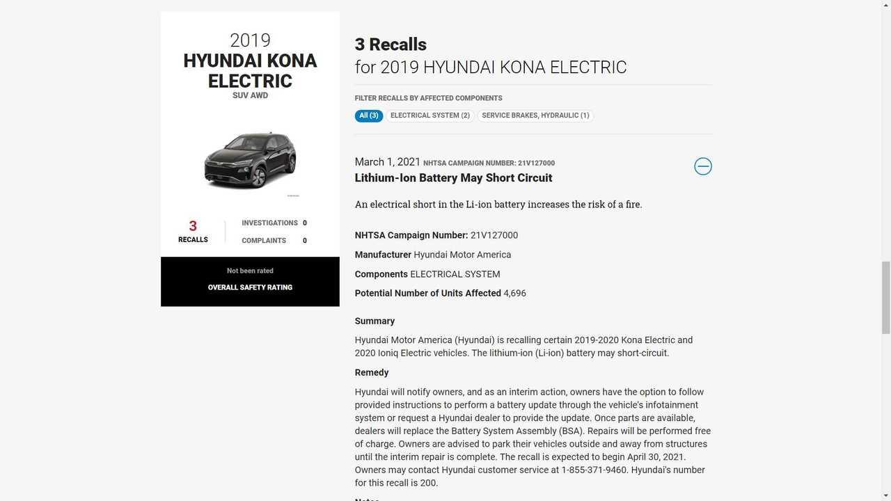 NHTSA Advises Hyundai Kona Electric Owners To Park It Isolated Outside