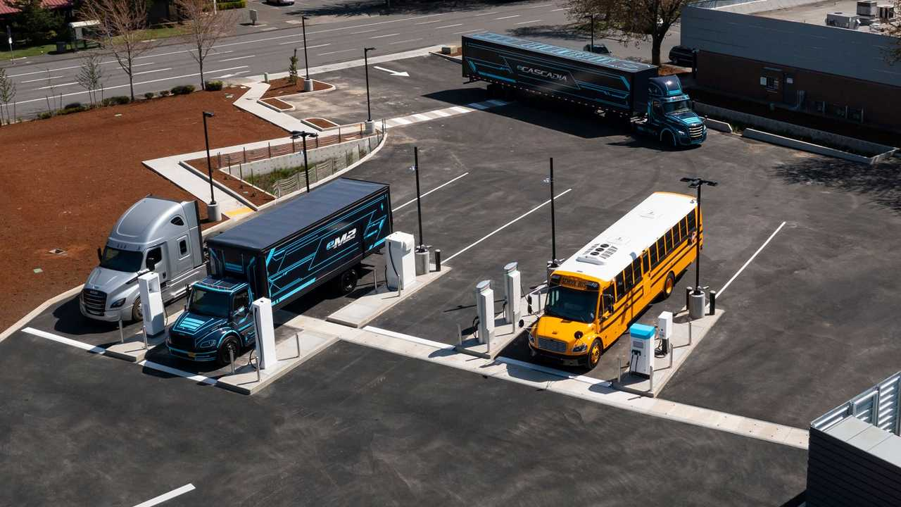 The Electric Island heavy-duty electric truck charging site