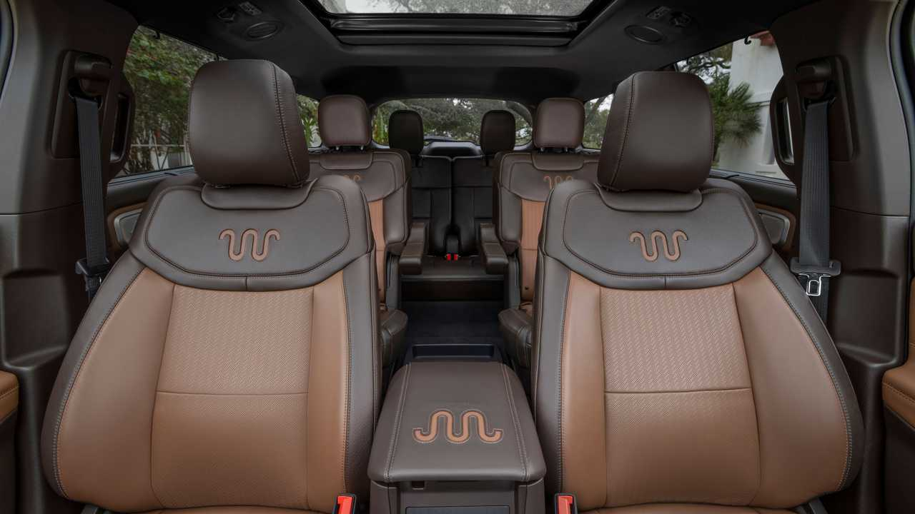 An interior view showing the 2021 Ford Explorer King Ranch seats.
