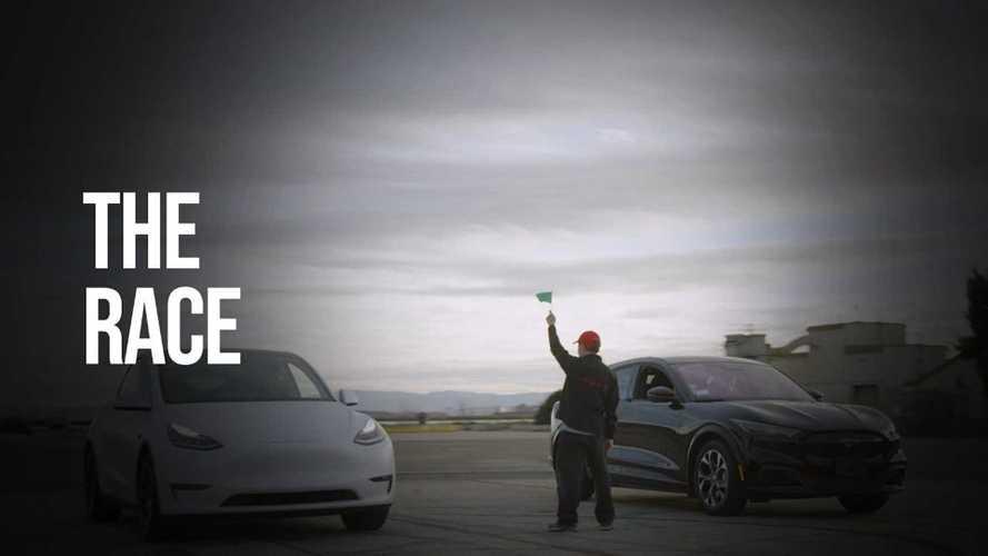 Tesla Model Y Vs Mustang Mach-E Drag Race & Traffic Light Grand Prix