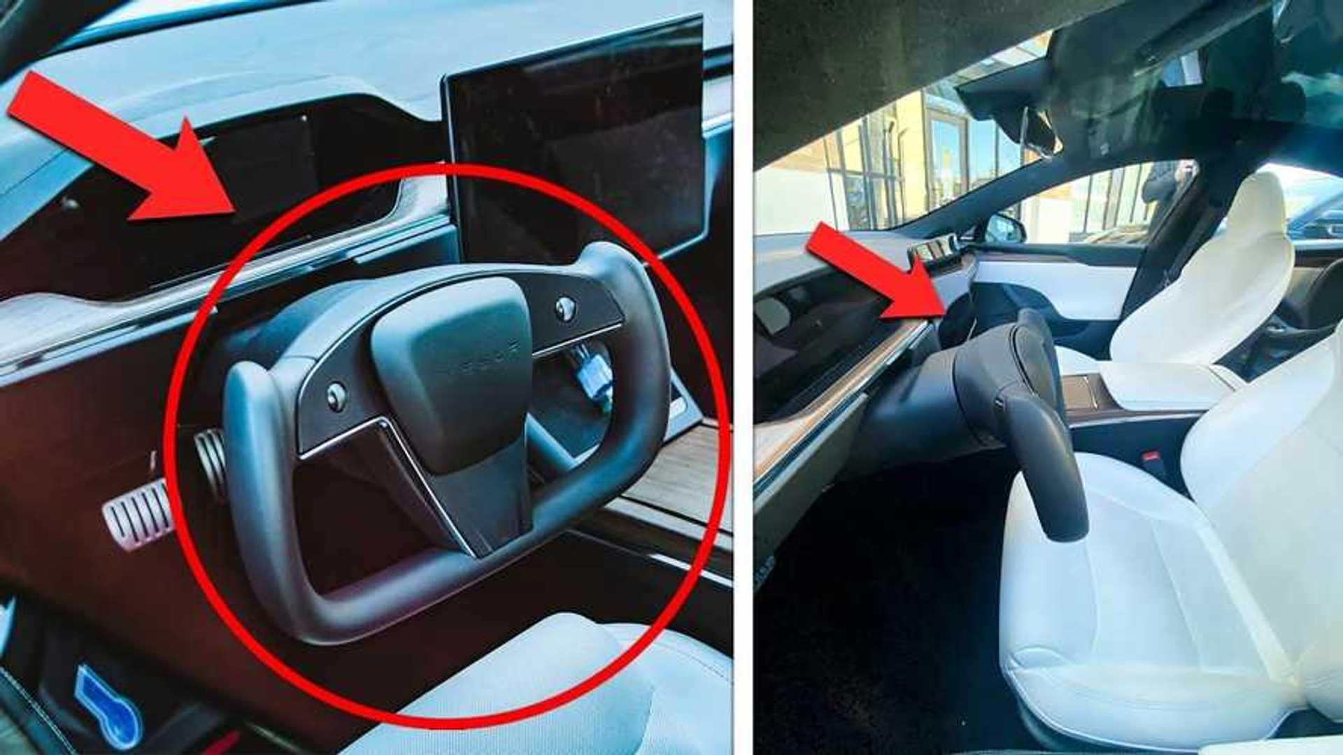 See first spy photos of Tesla Model S Plaid's yoke steering wheel