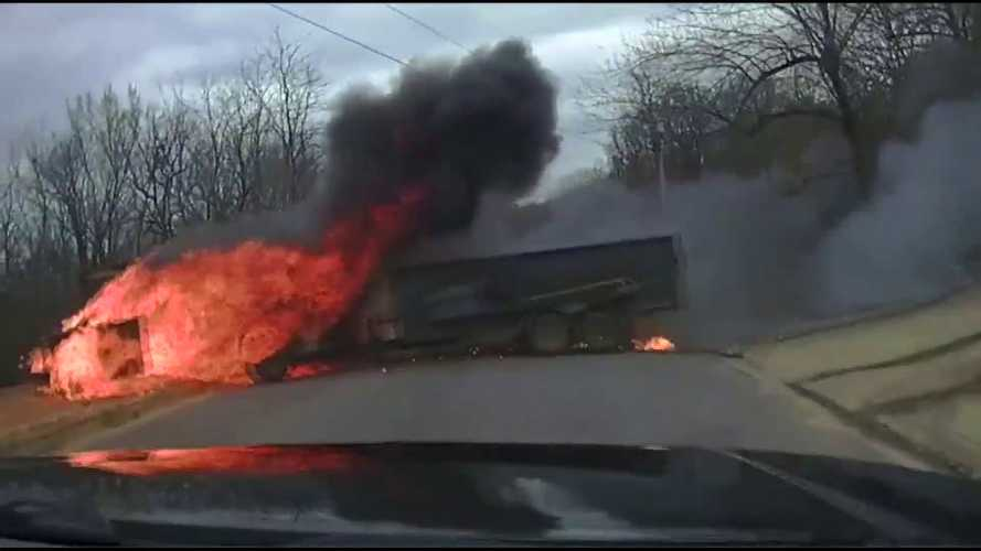 Police dashcam catches flaming van making a break for it