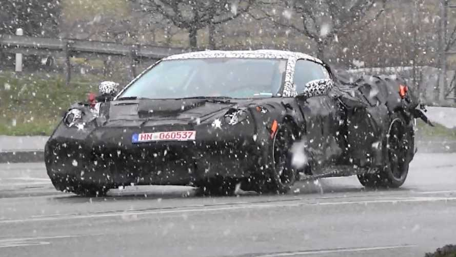 Heavily disguised Chevy Corvette C8 spied in snowy Germany