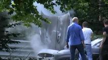 Jaguar XKR on fire at Nurburgring