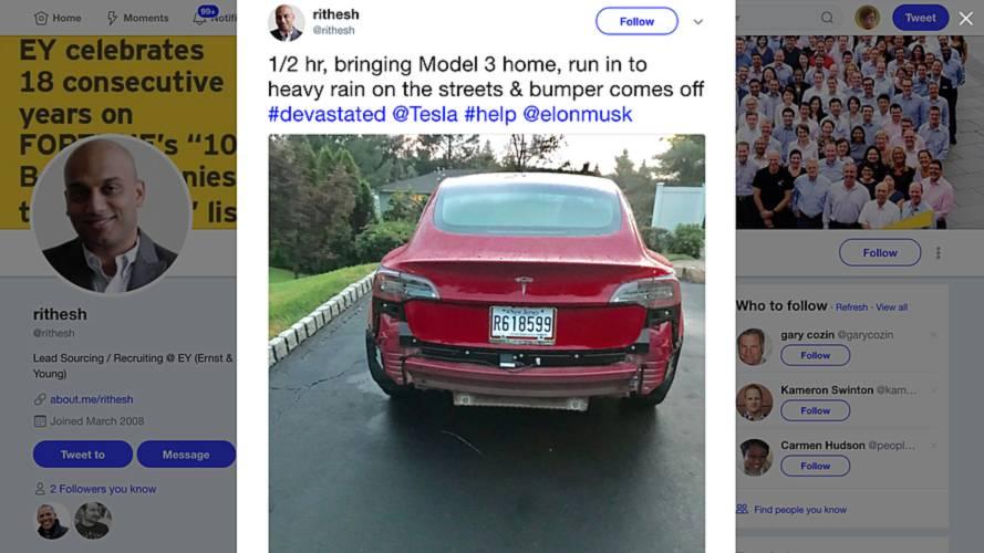 Are Tesla Model 3 Rear Bumpers Falling Off In The Rain?