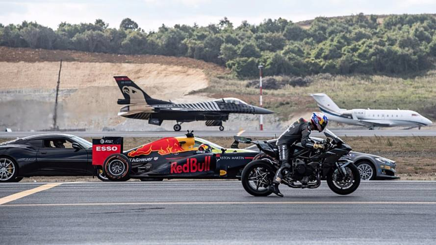 Watch a Tesla race an F1 car and a fighter jet