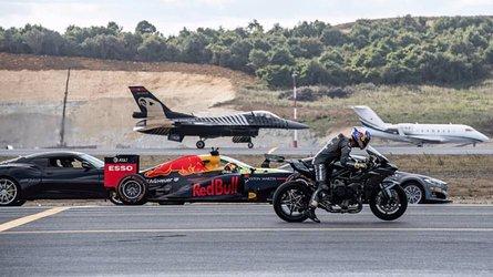 Quem ganha? Corrida tem caça F-16, Kawasaki H2R, carro de F1 e elétrico Tesla