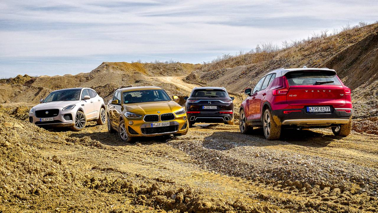 Vergleich BMW X2 vs. DS7 Crossback vs. Jaguar E-Pace vs. Volvo XC40