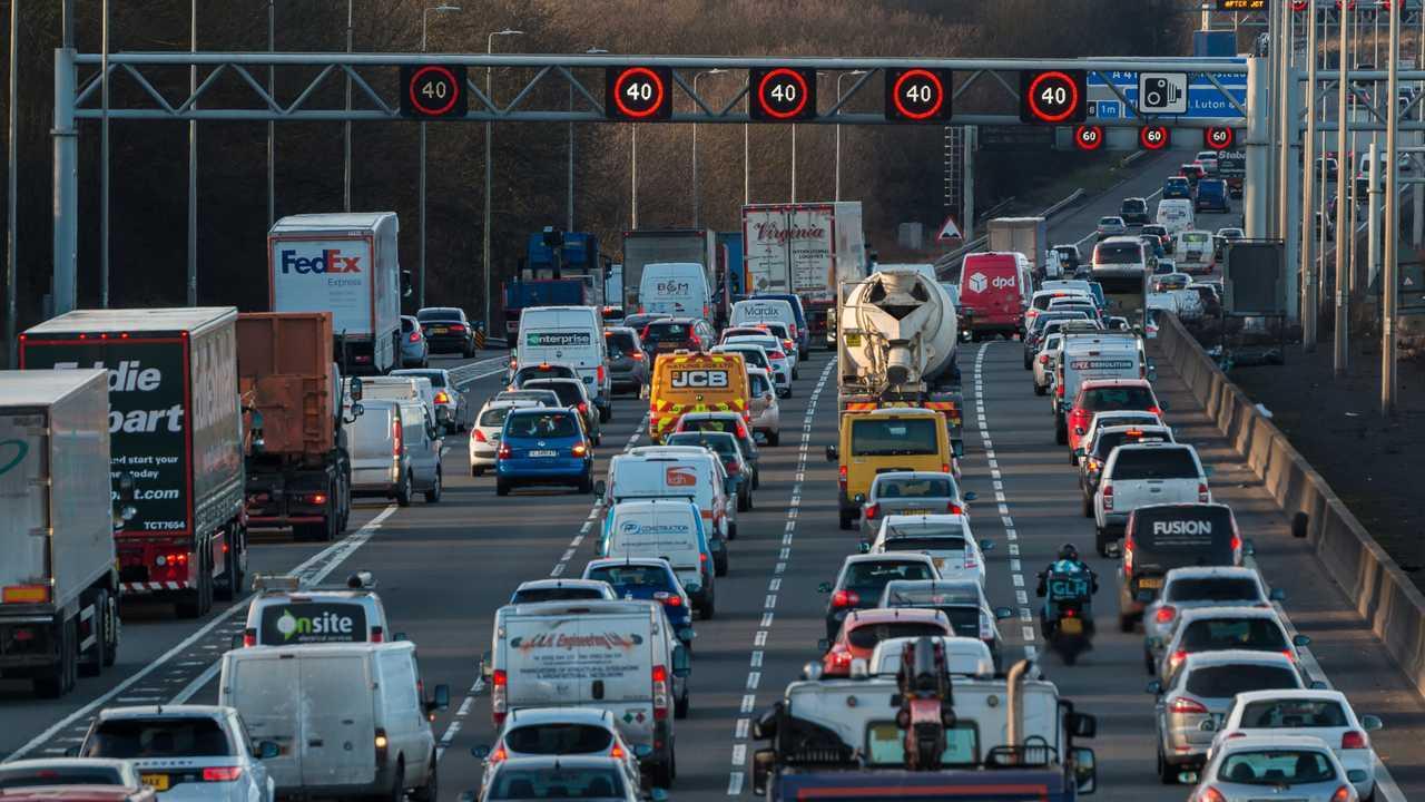 Evening traffic jam on the M1 motorway in Watford UK