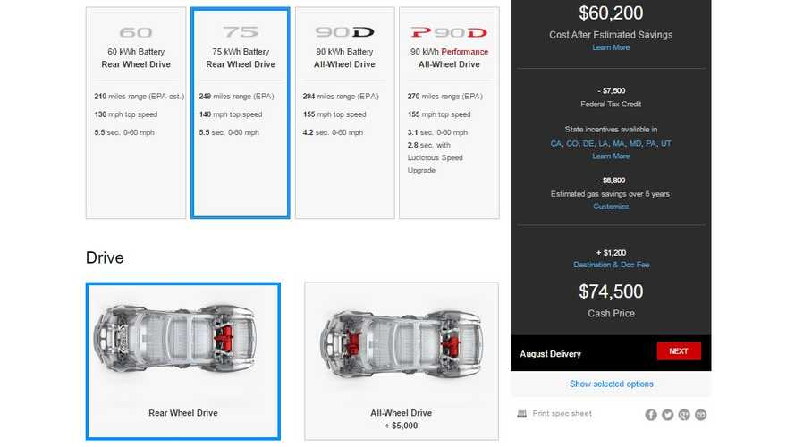 Tesla Officially Adds 4th Version Of Model S - 75 kWh